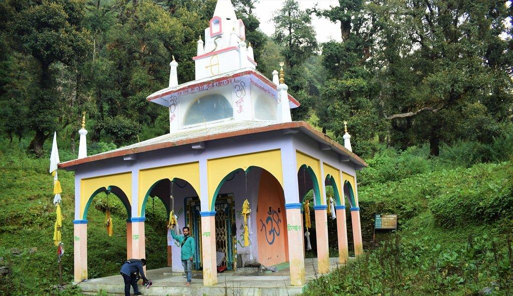 In front of nag devta temple on nag tibba trek