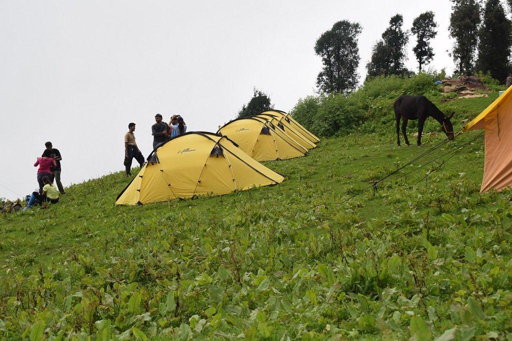 camp site at nag tibba trek`