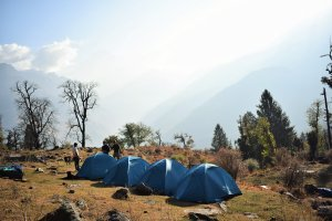 Utttarakhand Trip Trek:  camp site on kuari pass trek