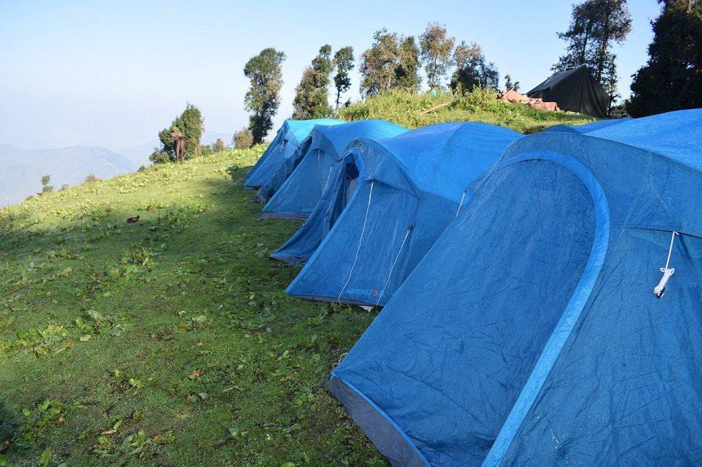 camp site on nag tibba trek