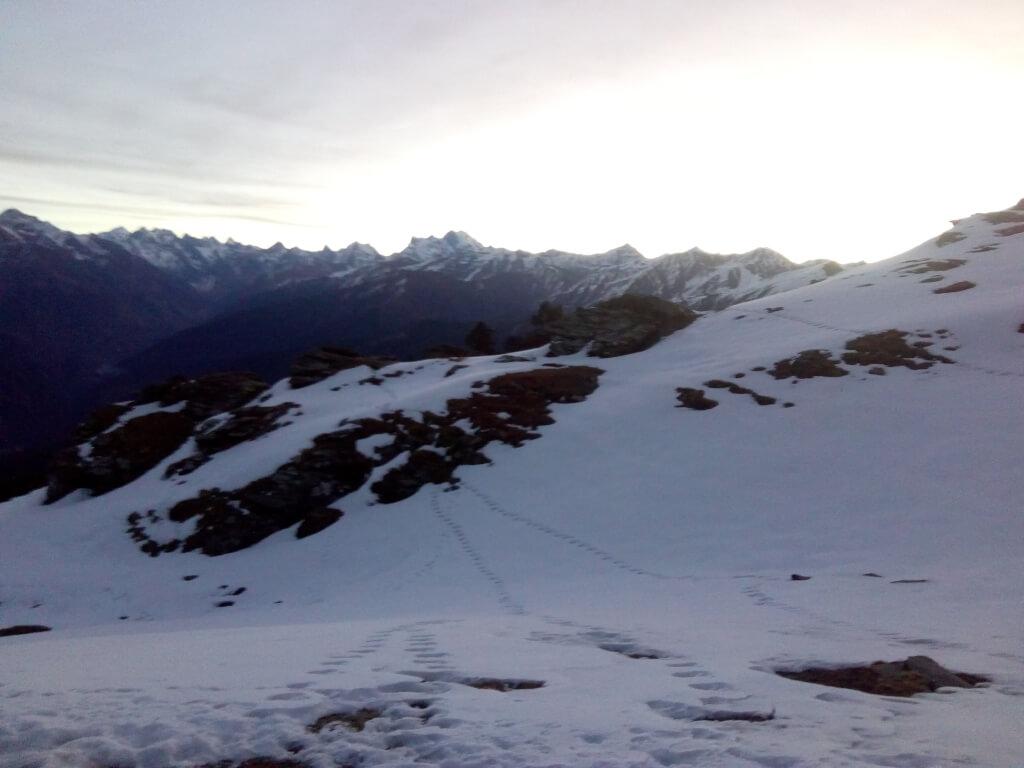 Beautiful view of mountain from kedarkantha top