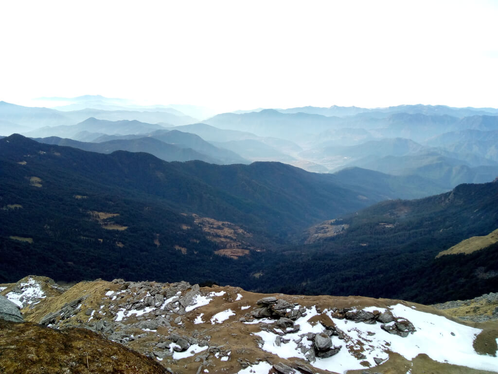 Beautiful view of green mountain from kedarkantha trek