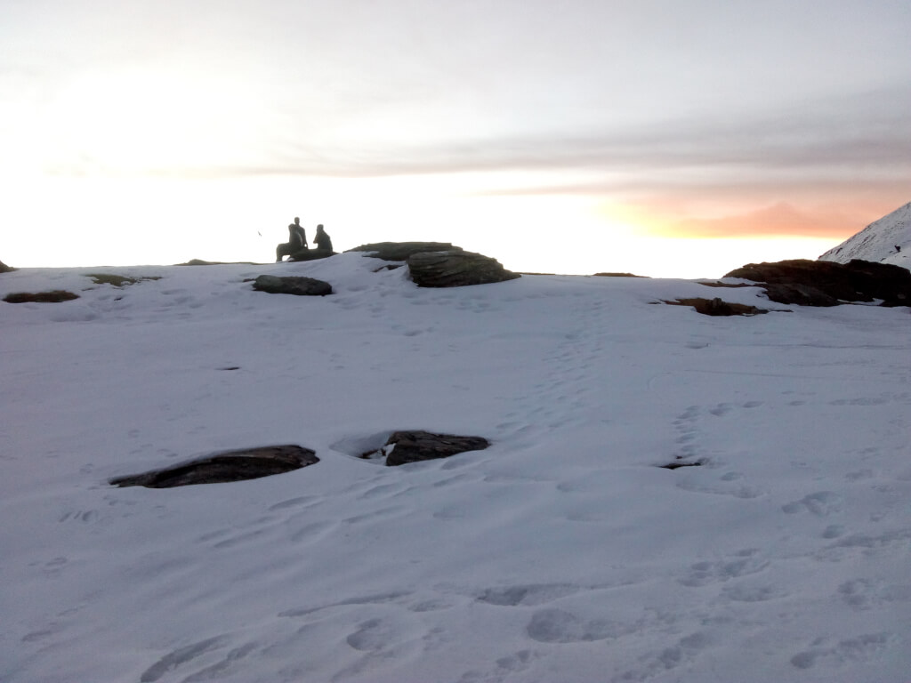 Beautiful view of snow capped mountain at Kedarkantha trek