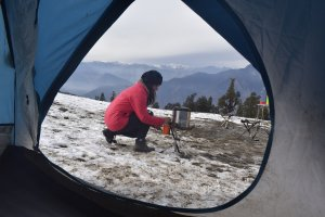 Utttarakhand Trip Trek:  camp site on kedarkantha trek