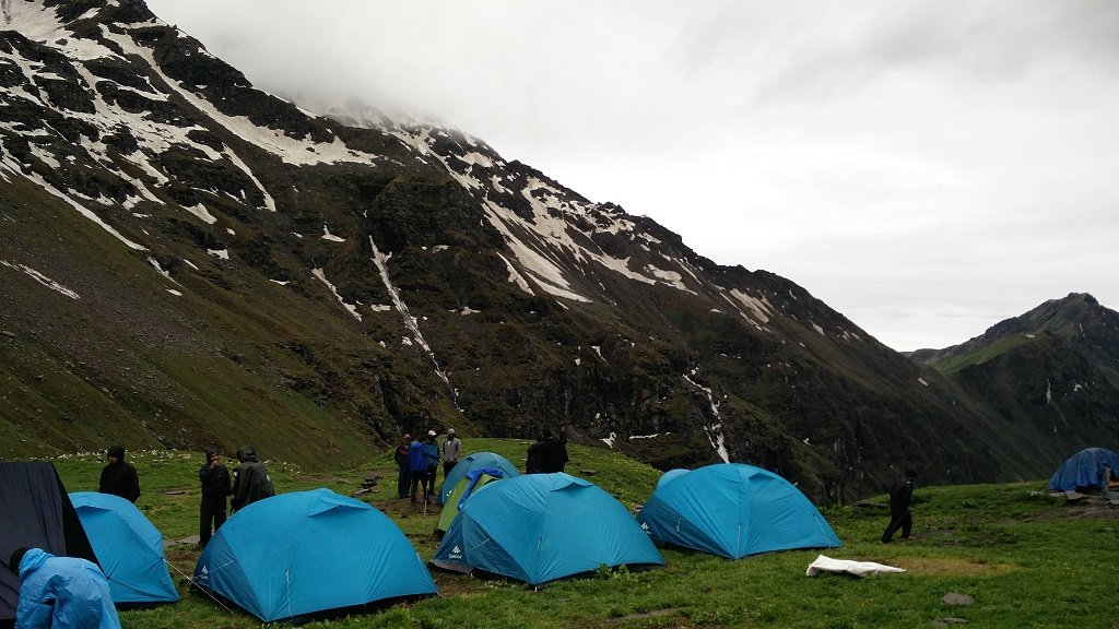 camp site on rupin pass trek