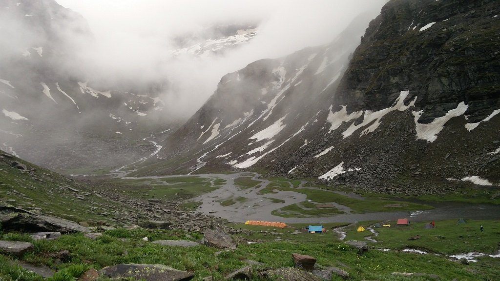 beautiful view of rupin pass trek camp site