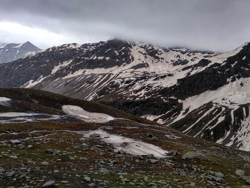 snow coverd mountain on rupin pass trek
