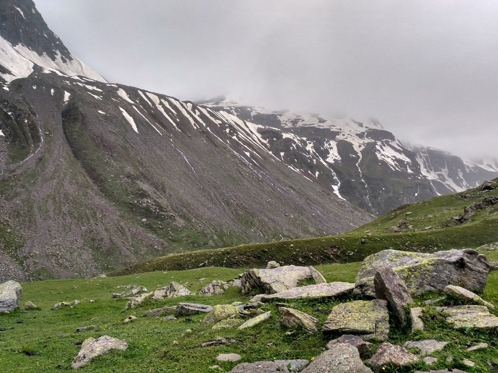 beautyful view of snow on rupin pass trek