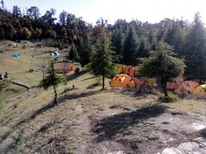 Utttarakhand Trip Trek:  Tents at Deoria tal chopta Trek